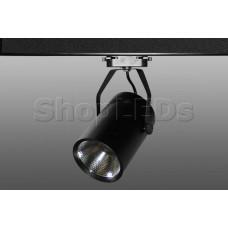 Трековый светодиодный светильник DT-172 (30W, 6000K, однофазный, черный корпус)